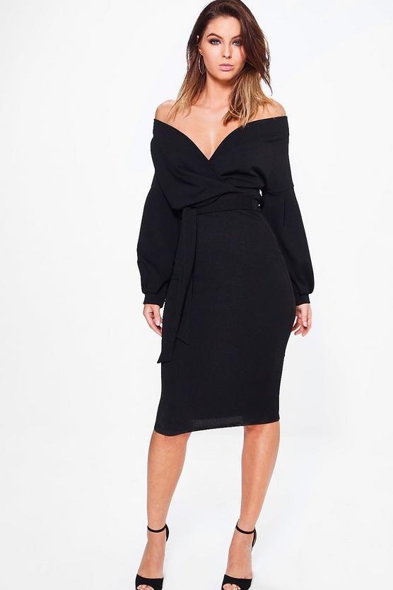9e25a8639fff Off The Shoulder Wrap Midi Bodycon Dress | My Style | Dresses, Midi ...