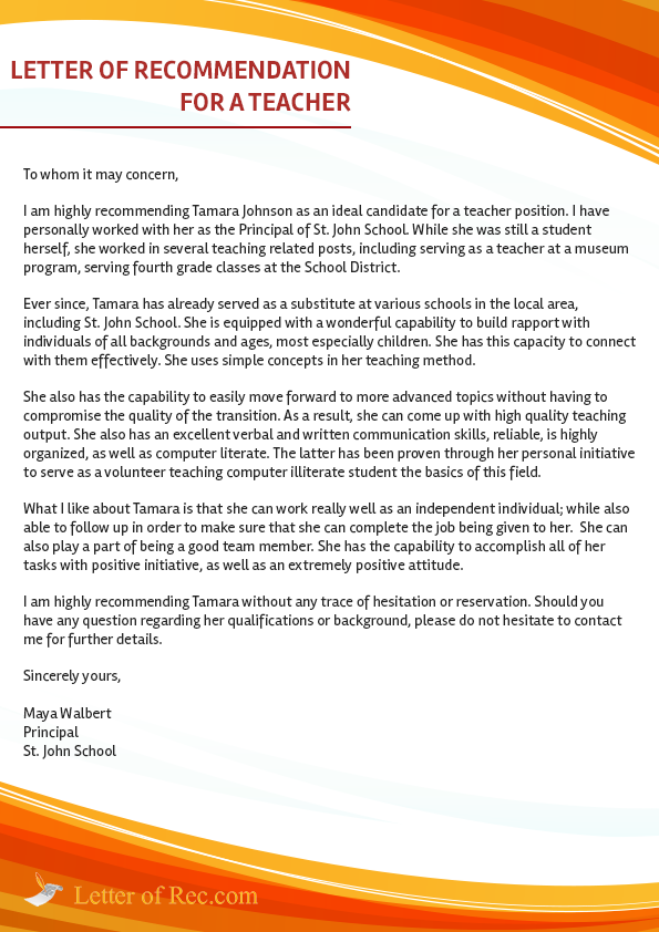 Pin by Template on Template | Teacher letter of recommendation
