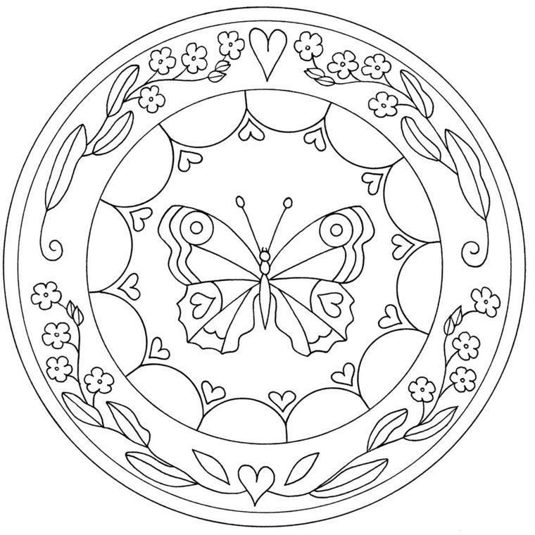 Disegni Da Colorare Mandala Da Stampare.Semicerchi Con Cuori Disegno Di Una Farfalla Mandala Da Colorare E Stampare Mandala Libri Da Colorare Disegno Di Mandala