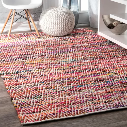 Hussain Handmade Tufted Magenta Rug In 2021 Chevron Area Rugs On Carpet Braided Rag