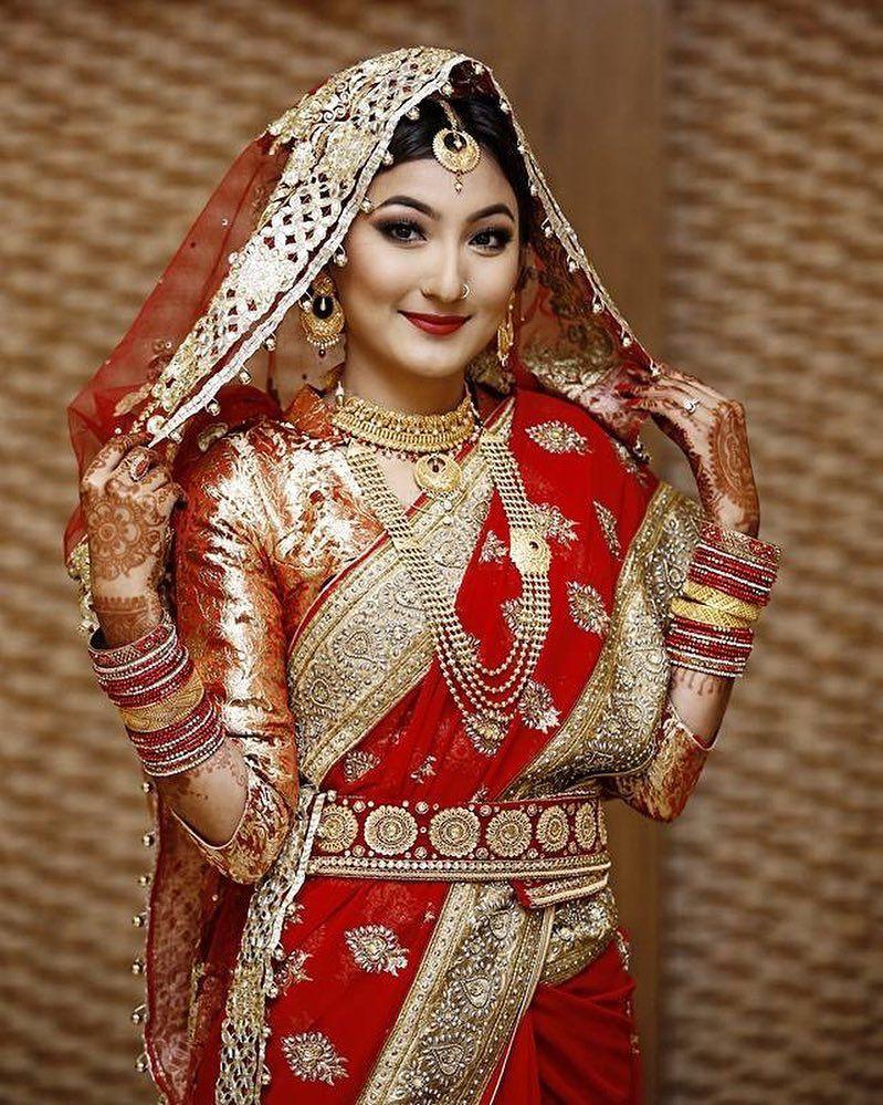 Beautiful Nepali Behuli via nepalibrides Saree wedding