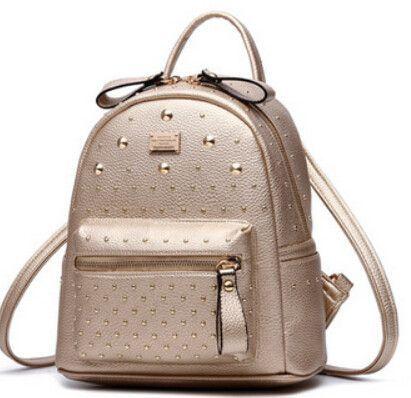 caa58c4b41 Women Leather Backpack Teenage Girl School Bags Fashion Rivet Small Korean  Backpacks 2016 New Casual Bagpack Sac A Dos Bolsas
