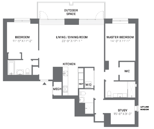 Floor Plan Of Citizen S Residences That Include A Study Along With Two Bedrooms Manhatta Apartment Layout Apartment Floor Plans Apartment Therapy Living Room