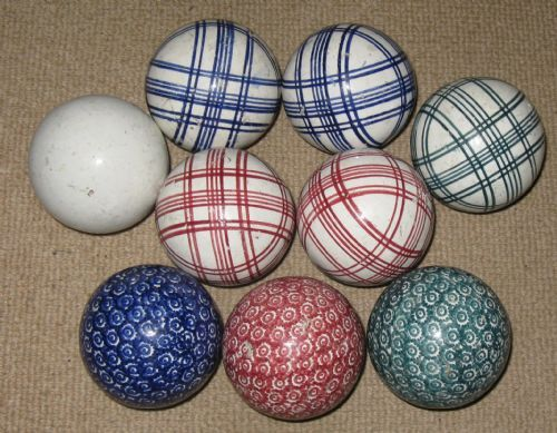 group of nine Victorian Scottish pottery carpet bowls ...