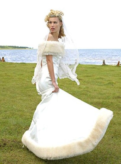Fake Fur Trimmed Duchesse Satin Strapless Wedding Gown From GBP3000 To