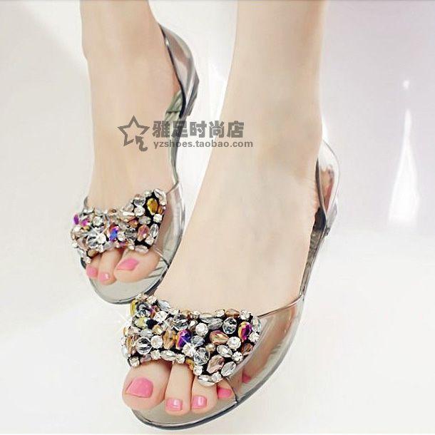 2605de4e1 2013 summer Transparent crystal jelly shoes melissa sandals women s  rhinestone diamond beaded plastic flat heel rain boots  23.32