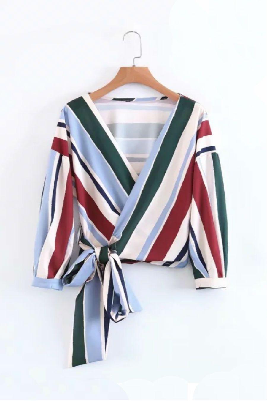 Multicolor stripe retro blouse wrap blouse nautical shirt and