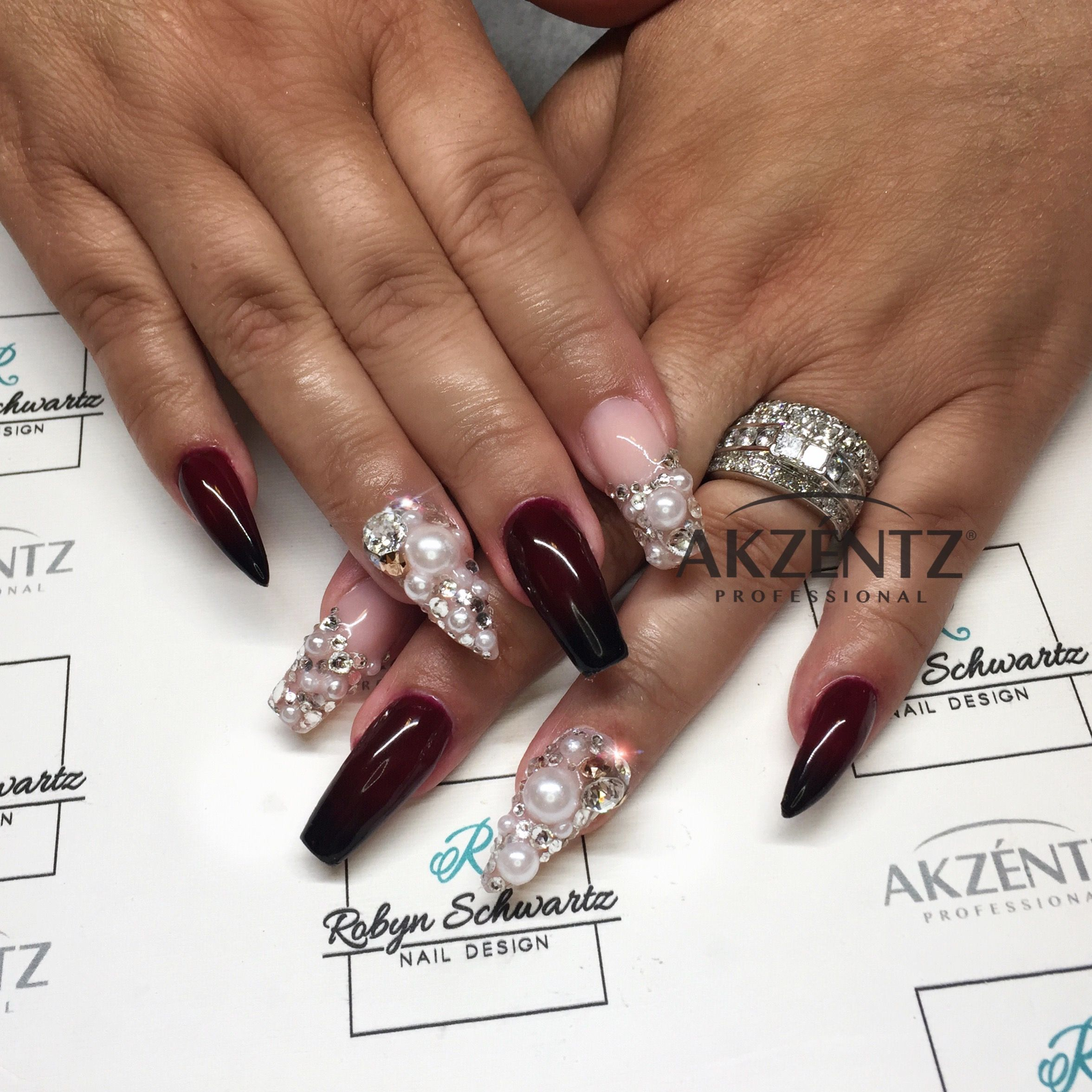 Love! Dark red and black ombré on almond and coffin gel nails with ...