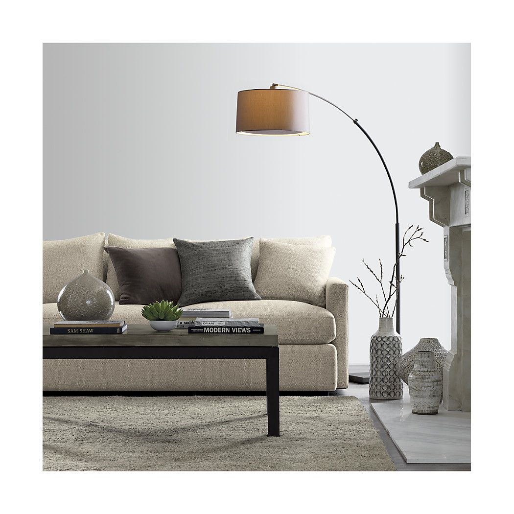 Dexter Arc Floor Lamp with Grey Shade + Reviews Crate