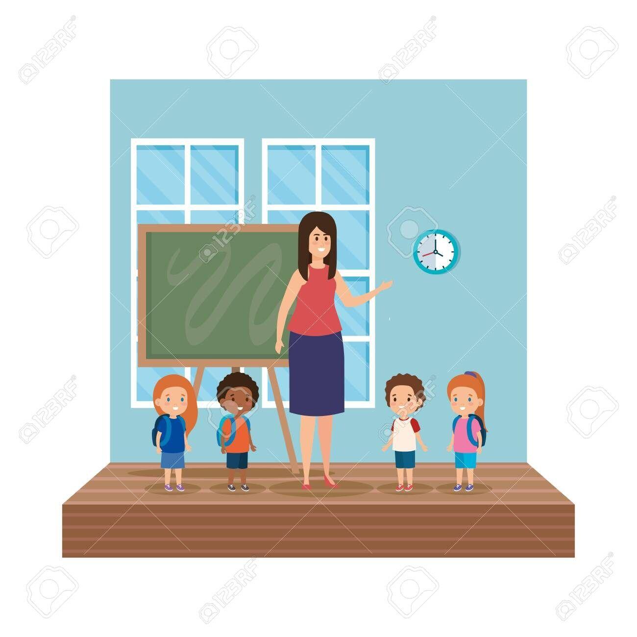 teacher female with school kids classroom scene vector illustration design ,