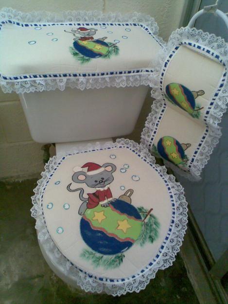 Juego de baño con pintura en tela navideño.  Juegos de ...