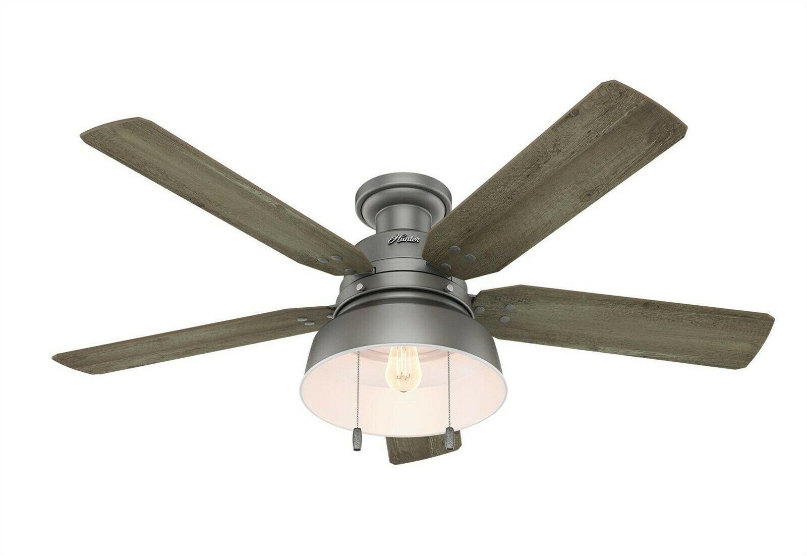 Hunter 52 Outdoor Low Profile Ceiling Fan With Led Light Kit In Matte Silver Ceiling Fan Light Pulls Ceiling Fan With Light Ceiling Fan