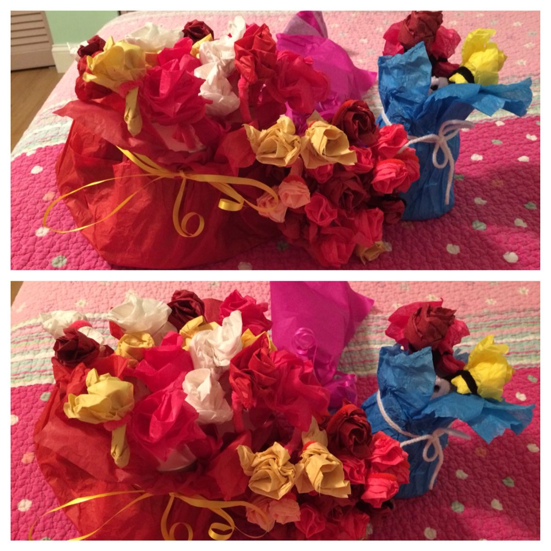 Bouquet of roses.  http://m.wikihow.com/Make-Tissue-Paper-Roses
