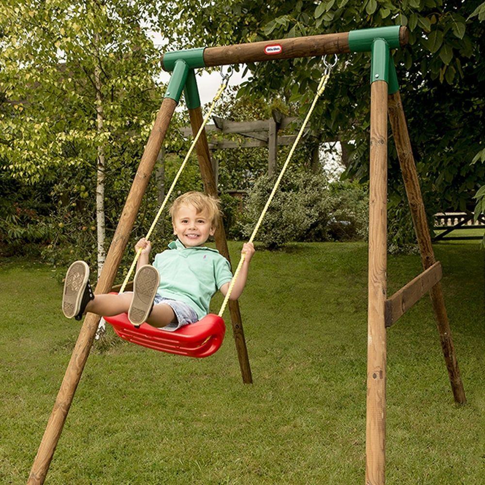 Little Tikes Milano Single Wooden Secure Swing Seat Garden