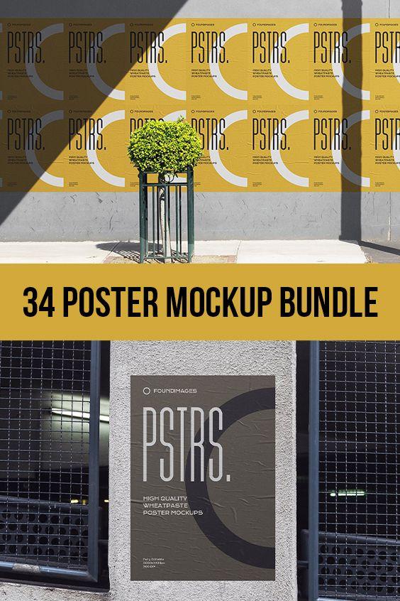 34 Poster Mockup Bundle Poster Mockup Digital Banner Poster Mockup Psd