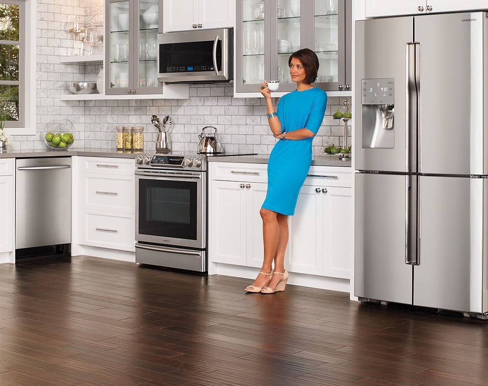 Panel1 introduction samsung appliance ad gray and white kitchen wood floors white cabinets - Modern kitchen with white appliances ...