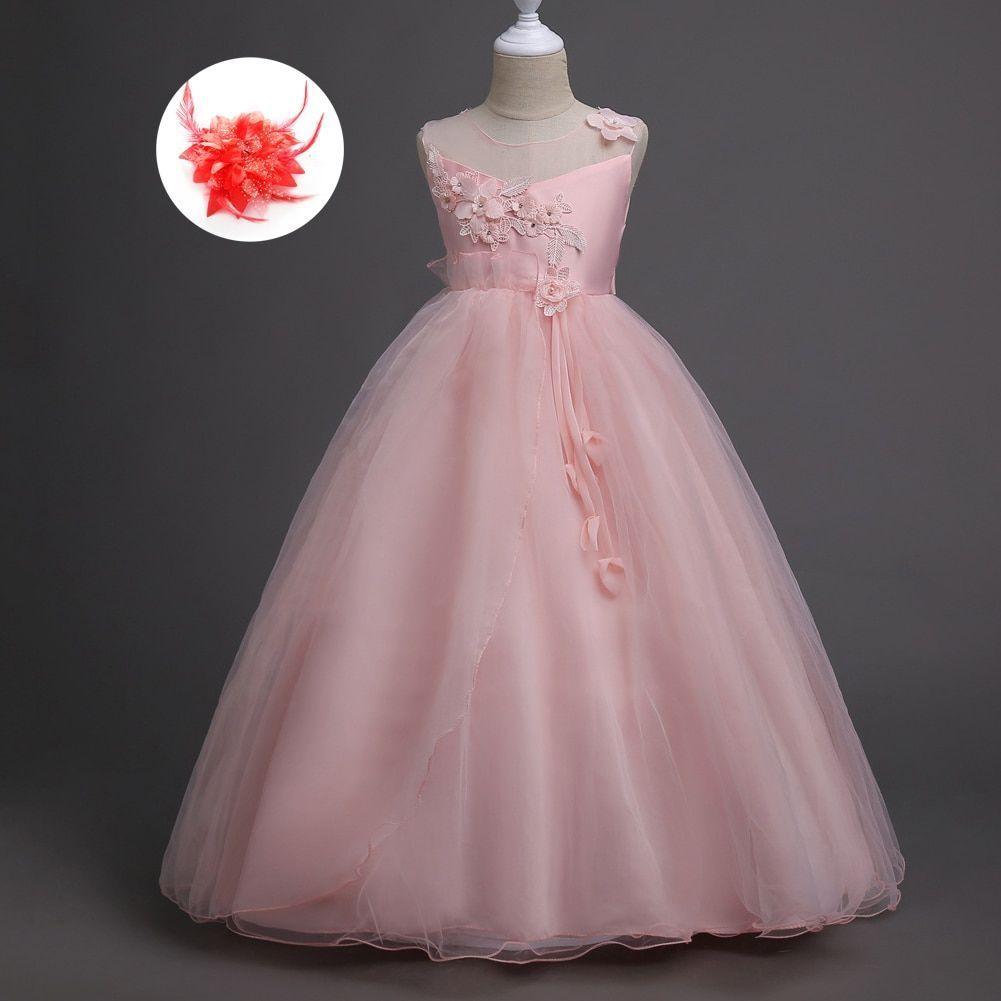 Designer Kids Wear Formal Dresses Real Image Mesh Neck Floral Lace Applique 5 To..., #Applique #designer #dresses #floral #Formal #Image #kids #Lace #Mesh #Neck #real #Wear