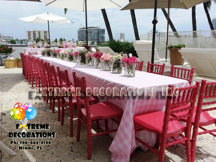 Kids Tables With Pink Gingham Tablecloth, Flower Centerpieces And Pink  Little