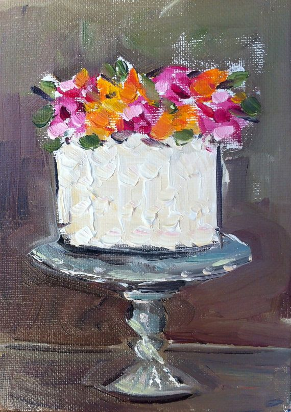 Cake Painting with Roses by DevinePaintings on Etsy, $40.00