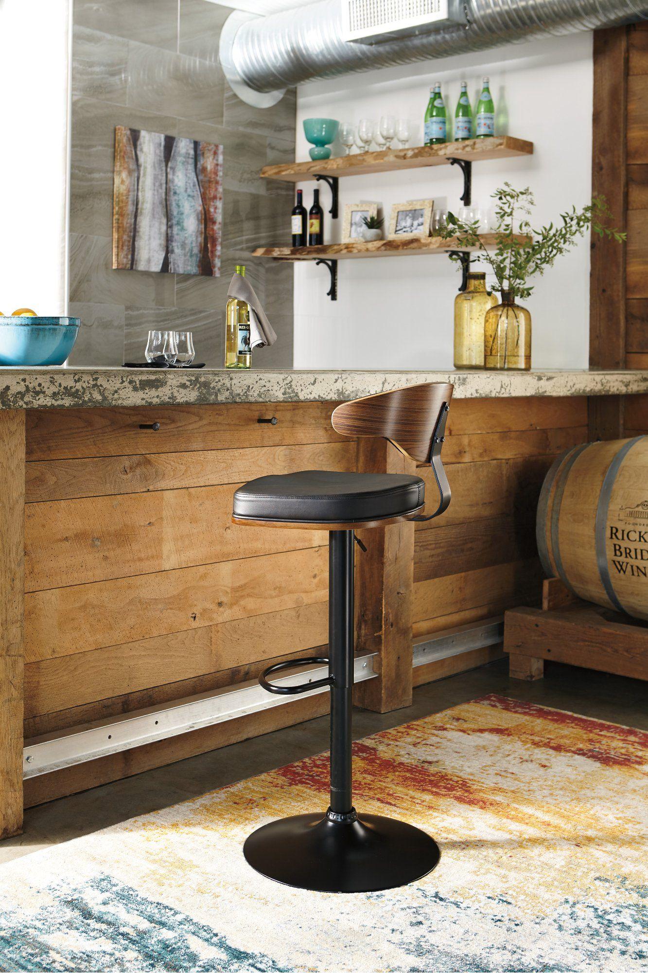 Brilliant Black And Brown Adjustable Height Swivel Bar Stool Beatyapartments Chair Design Images Beatyapartmentscom