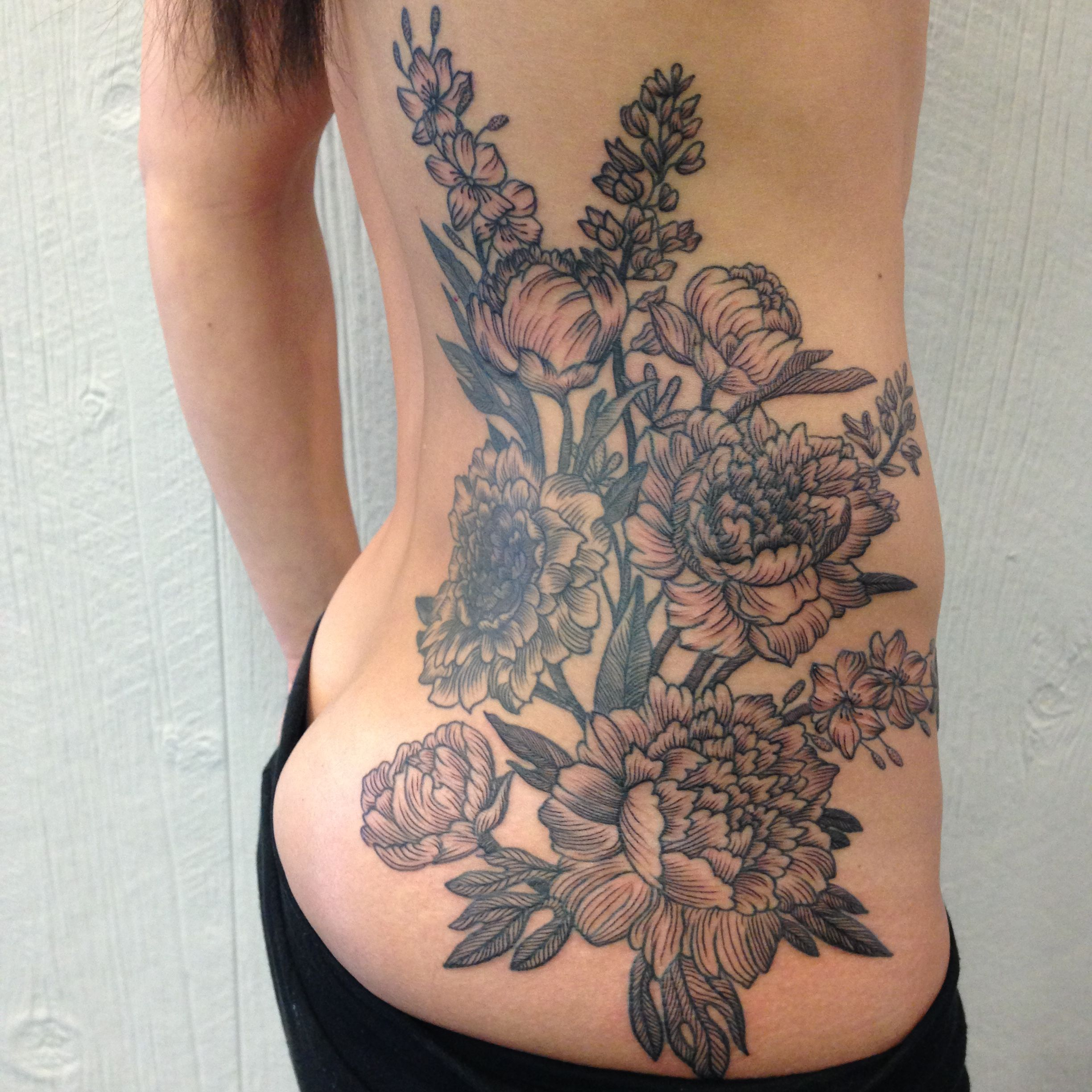 Tattoo Ideas Kerry: Botanical Black Work Cover-up By Kerry Henderson, Heart Of