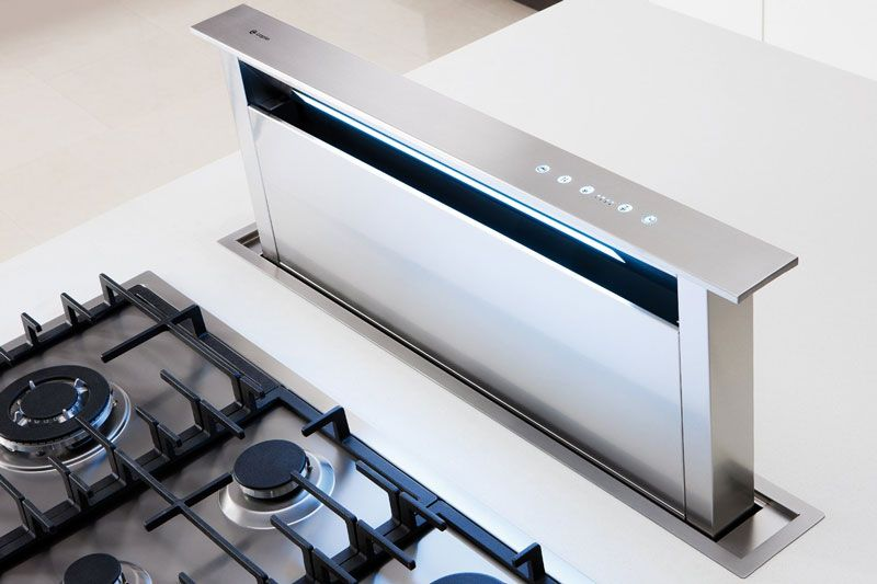 Caple Dd910 Stainless Steel Down Draft Extractor That Raises From The Work Surface Http Www S Cooker Hoods Open Plan Kitchen Living Room Kitchen Rennovation