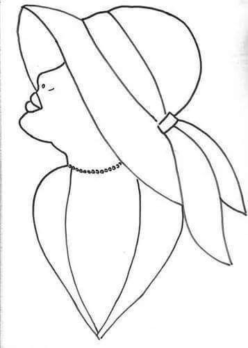 Dibujo Perfil Mujer Con Sombrero Patrones De Bordado Patrones Dibujos En Tela