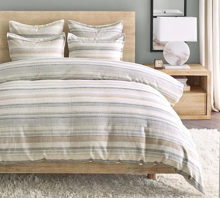 Clayton Striped Cotton Duvet Cover & Shams