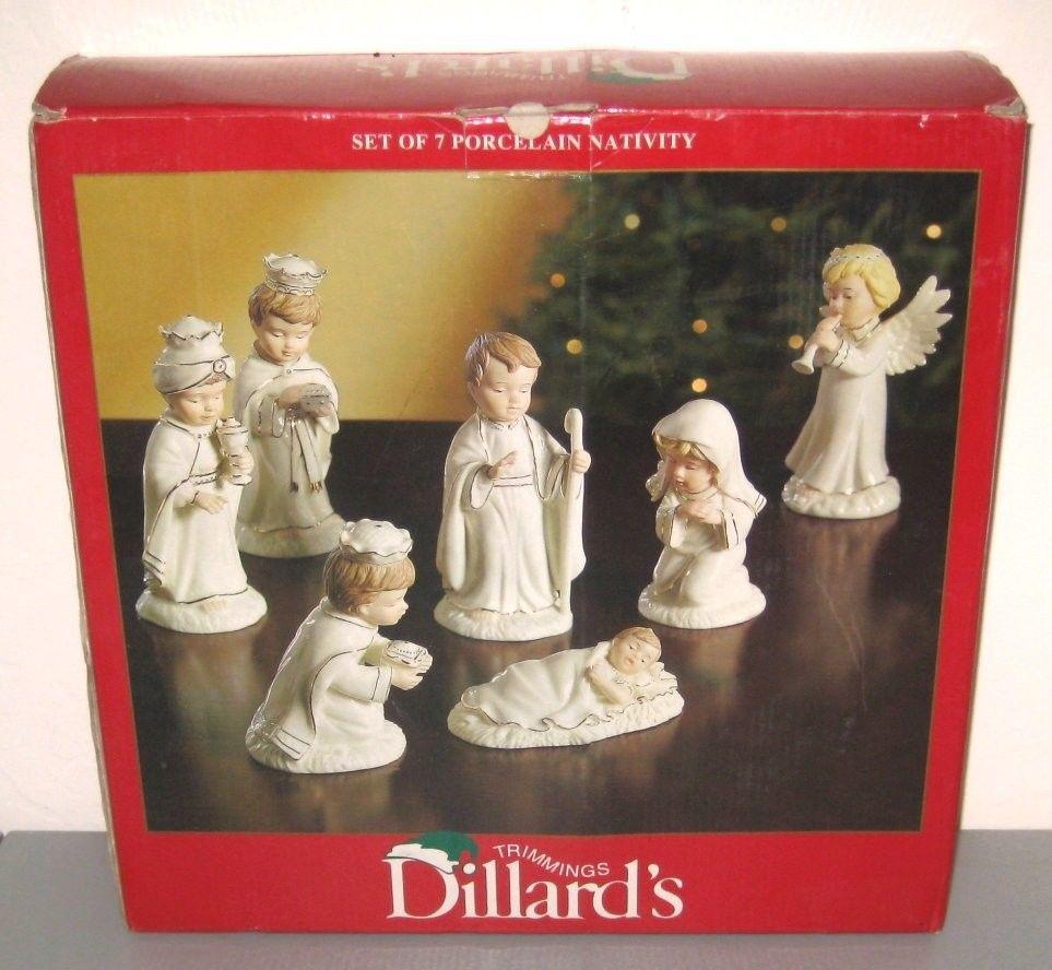 nativity set children porcelain gold mary joseph jesus wise men