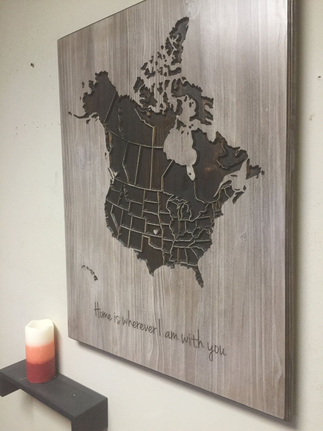 Us Map Wall Art wood us and canada map wall art, carved, united states map, us map