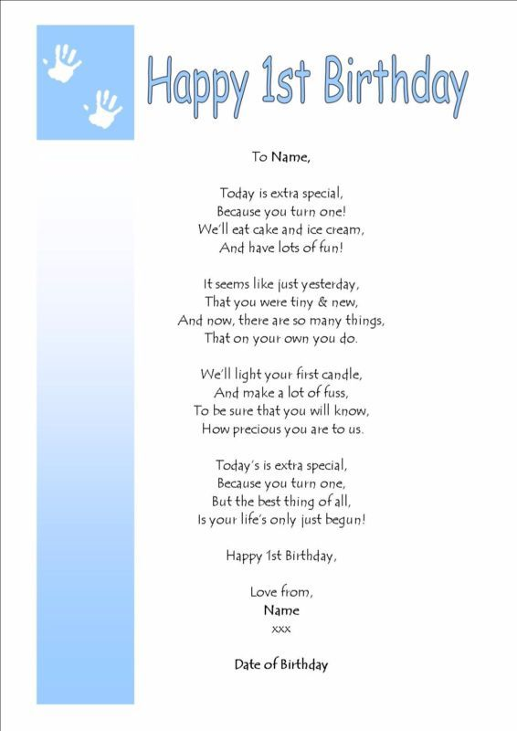 Personalised On Your FIRST 1st Birthday BOY GIRL Keepsake Gift Card Poem
