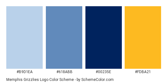 Download Memphis Grizzlies Logo Color Scheme Consisting Of B9d1ea 618abb 00235e And Fdba21 This 4 Colo Logo Color Schemes Logo Color Brand Color Palette