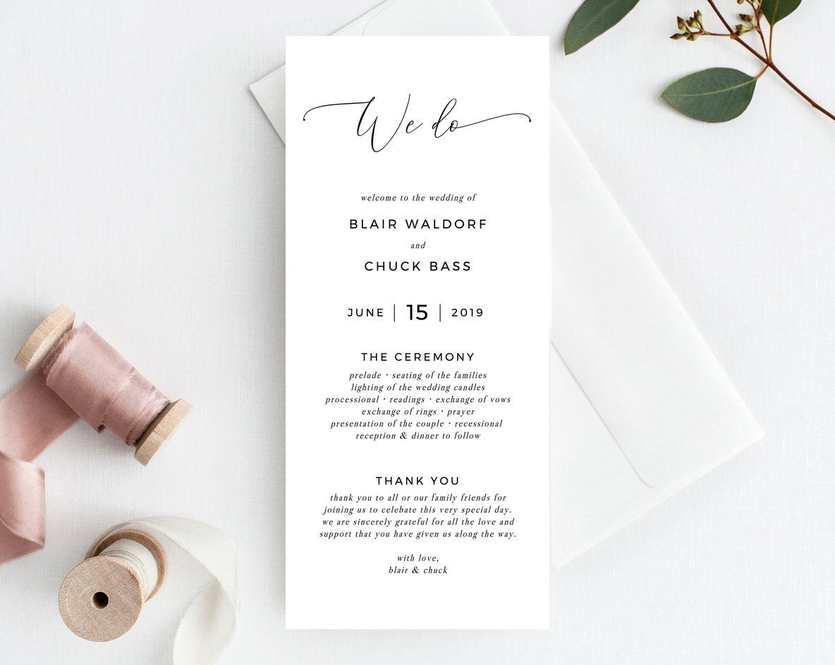 We Do Wedding Program Template Printable Wedding Program Simple Wedding Program Editable Ceremony Programs Instant Templett W15 Printable Wedding Programs Wedding Programs Simple Wedding Programs
