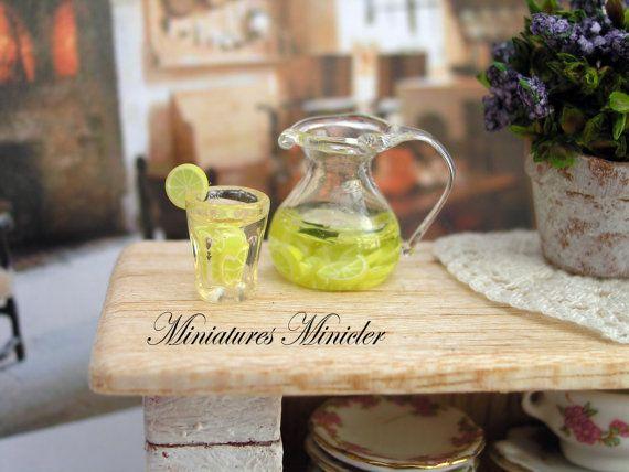 Miniature Dollhouse Lemonade Set 112 by Minicler on Etsy