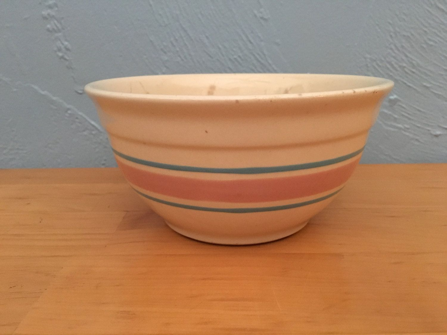 McCoy Stoneware Pottery 7 inch Bowl blue and pink stripe by TrackTownVintage on Etsy