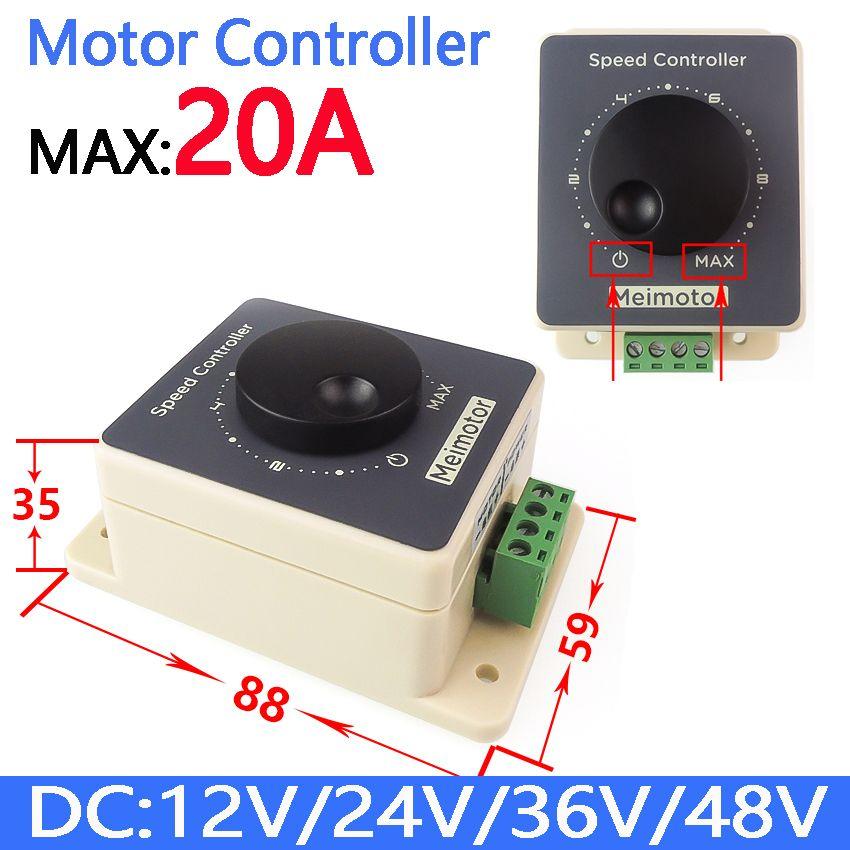 Waterproof DC10V~60V 12V 24V 36V 48V 20A PWM DC Motor Speed Controller Regulator