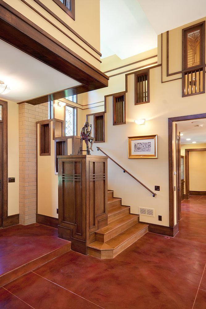Stairs In A Frank Lloyd Wright Inspired Prairie Style Home By Kga   Frank Lloyd Wright Stairs   Basement   Dorm   Design   Obras   Floor Plan