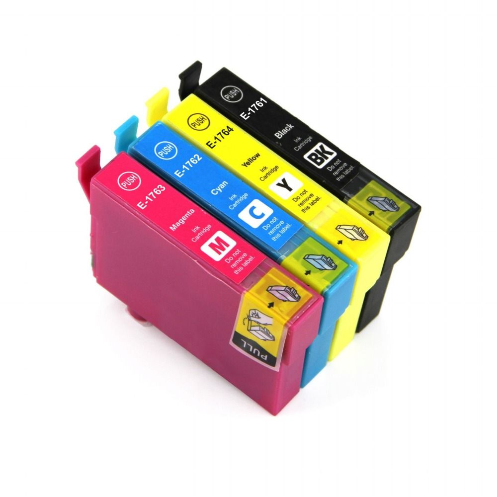 Full Ink 4 PCS Ink Cartridge T1761 T1762 T1763 T1764 for Epson XP-30 XP-102 XP-202 With chip