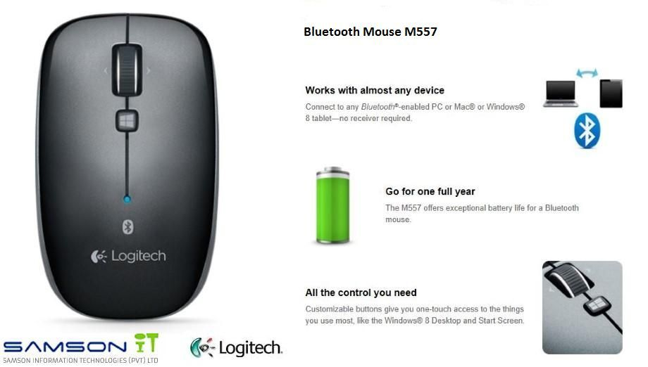 Logitech Bluetooth Mouse M557  Now available at Samson IT