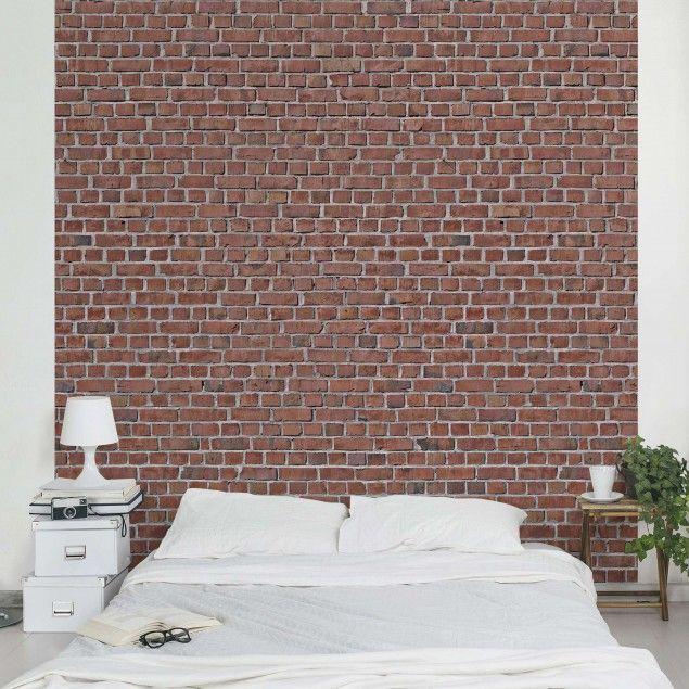 Tapete Steinoptik Vliestapete - Backstein Ziegeltapete rot - wohnzimmer ideen mit steintapete