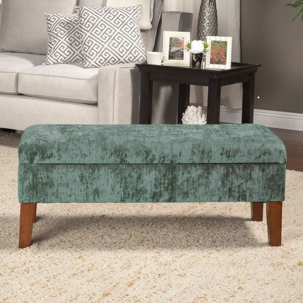 HomePop Teal Velvet Storage Bench