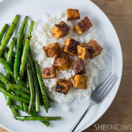 Miso-glazed tofu with spicy string beans.