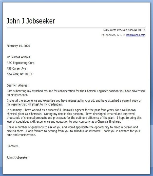 Chemical Engineering Cover Letter Career  Geotechnical