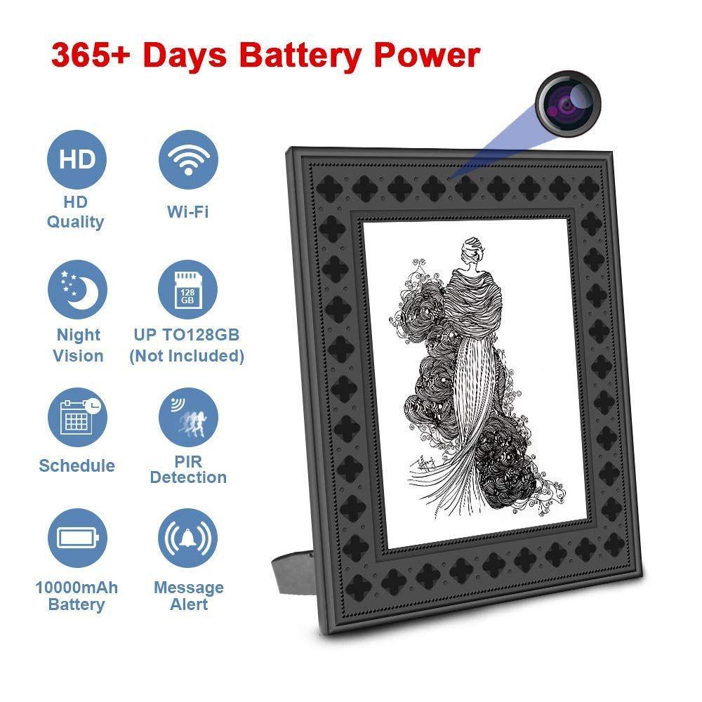 Hidden spy camera wifi photo frame 720p hd home security