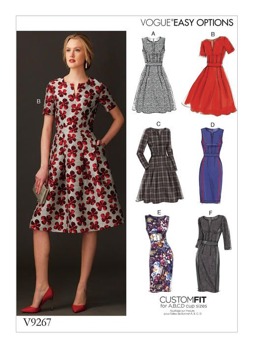 V9267 Fitted, lined dress has inset waistband, sleeve and skirt ...