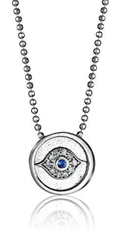 20f2da7f52e72 Alex Woo Little Faith Diamond and Blue Sapphire 14kt White Gold Evil Eye Pendant  Necklace    Find out more about the great product at the image link.