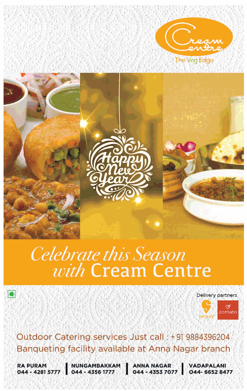 Cream Centre Celebrate This Season With Cream Centre Ad Times Of India Chennai Check Out More Hotels Restaurants Outdoor Catering Catering Services Catering