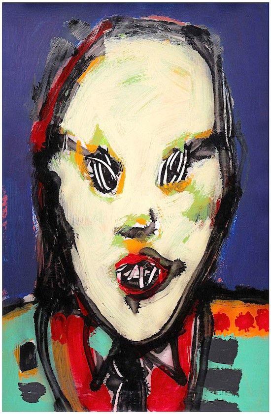 "Skot Foreman Gallery Nick  Vukmanovich ""Portrait V (Freddy Krueger)"" 1990s Acrylic and spray paint on paper    37 x 25 in  94 x 63 cm Hand-signed ""N Vukmanovich"""