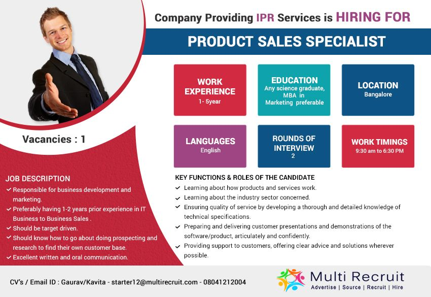Company Providing IPR Services is Hiring for Product Sales