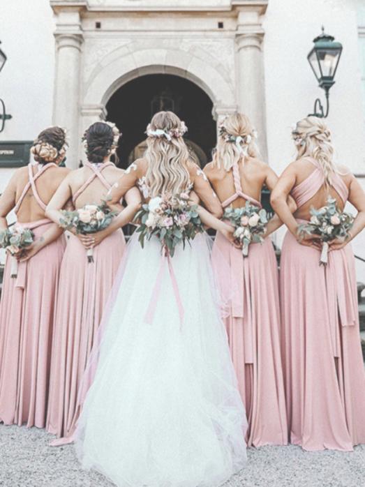 Pretty Mismatched Pink Satin Long Bridesmaid Dresses Vpwg307 Brautjungfer Rosa Braut Brautjungfernkleider